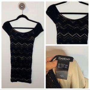 Bebe Black Off The Shoulder Spandex Dress medium